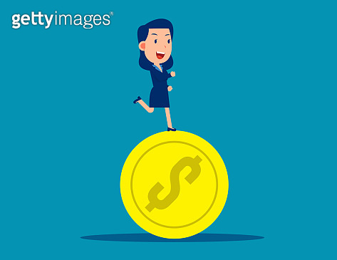 Running on coins. Business financial  concept. Business vector style