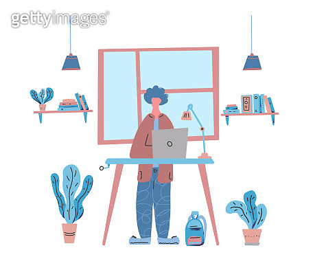 Business people work at a table. Vector concept.