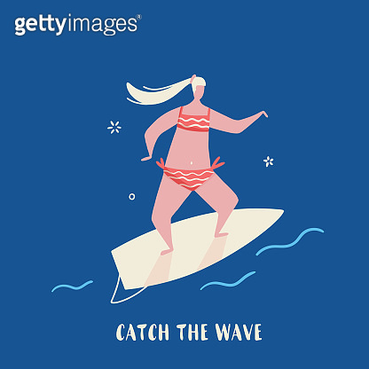 Surf Quote poster, vector Hawaiian poster, tropical postcard in cartoon style with girl in bikini