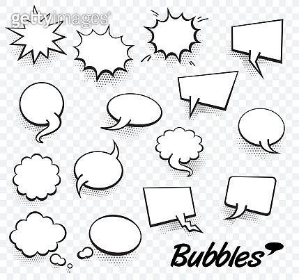 Set of blank template in Pop Art style. Vector Comic Text Speech Bubble Halftone Dot Background. Empty Cloud of Comics book dialog Space for Cartoon Box pop-art.