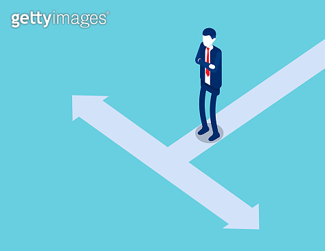 A man is standing on a road divided into two opposite direction. Isometric business vector style