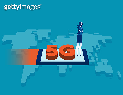 A 5G network system and internet. Speed wireless technology concept, Modern fast, Flat cartoon vector style design