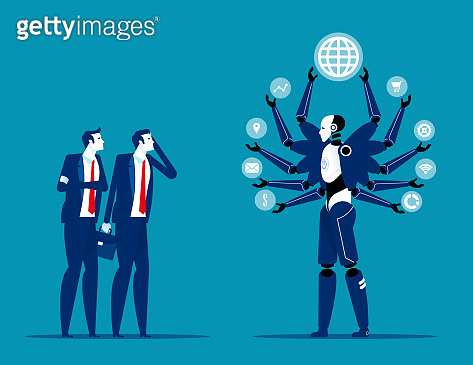Robot taking over human jobs in future. Replace humans working concept. Flat cartoon vector illustration style