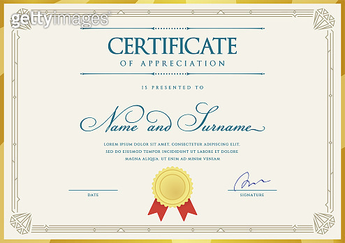 Template Diploma Currency Border. Certificate. Award Gift Voucher. Vector illustration.