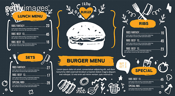 Burger menu with doodle icons and sketch burger, food background, chackboard cafe design, grill brochure, cooking flyer