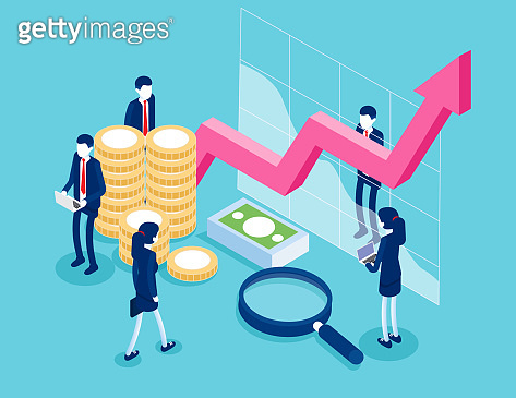 Financial administration. Business finance and investment concept. Flat isometric vector style