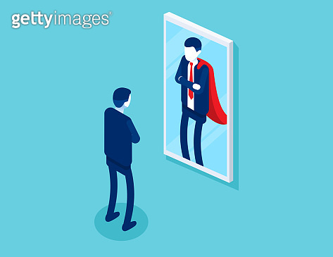 Businessman stands in front of a mirror is reflected as a superman.The motivation for success in business, Isometric vector design