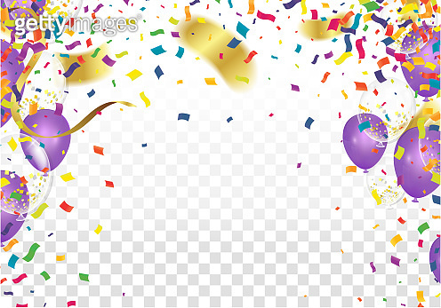 Birthday party decoration colorful bright confetti isolated ,balloon,streamers