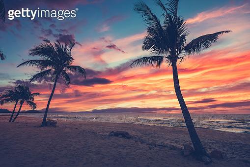 Sundown beach scene for travel inspirational