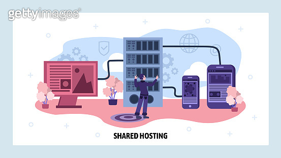 Data center and web hosting concept. Engineer install server software. Cloud data storage. Vector web site design template. Landing page website concept illustration