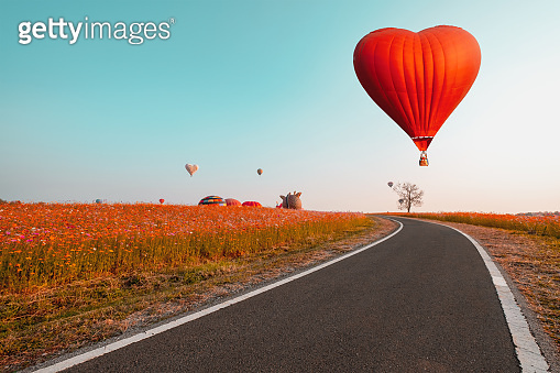 Red hot air balloon in heart shape over flower field.