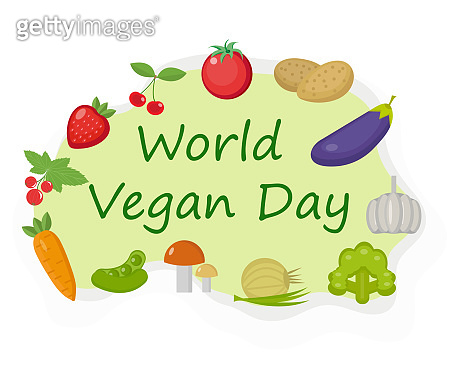 World Vegan Day. Vegetables and fruits, healthy food, weight loss, raw food concept template. Vector illustration