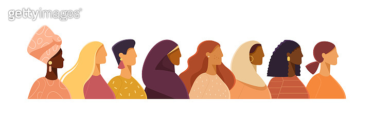 Vector illustration with women of different nationalities.