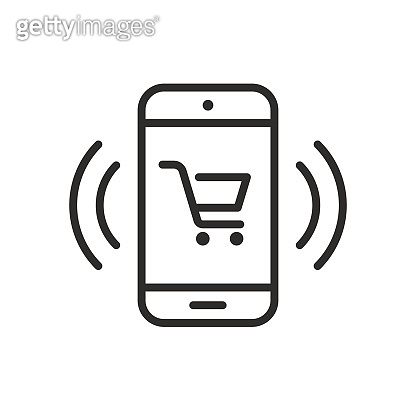 Mobile phone notification vector icon, cellphone push message symbol, smartphone ecommece bubble speech line outline art isolated pictogram clipart