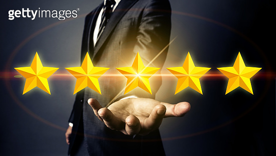 Rating stars concept. Comparison. Ranking. Recommendation.