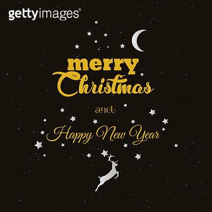 New year greeting card. Black and gold elegant style. Vector