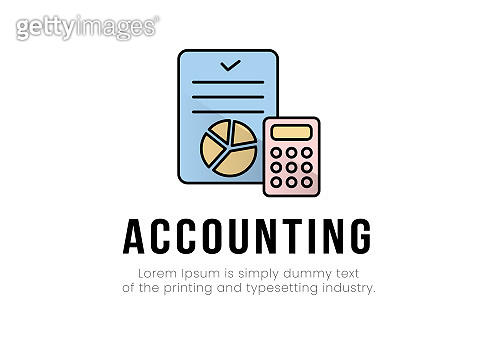 Finance. Vector illustration logo accounting. A document with a chart, a calculator on it, and accounting under it