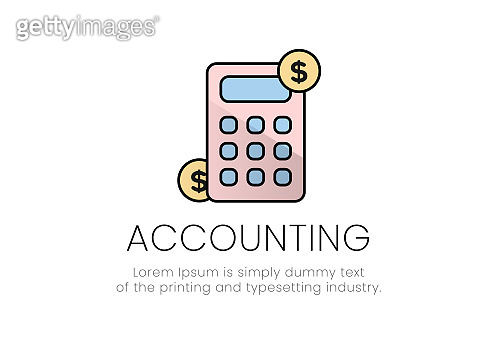 Finance. Vector illustration logo accounting. Calculator, on the sides of the dollar coin, below it the inscription accounting
