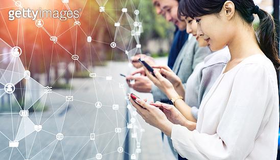 Mobile communication network concept. Digital transforamtion.