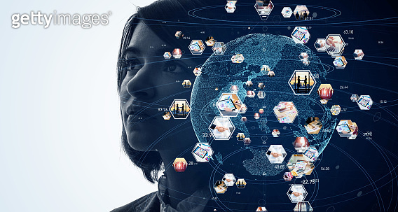 Global communication network concept. AI (Artificial Intelligence).