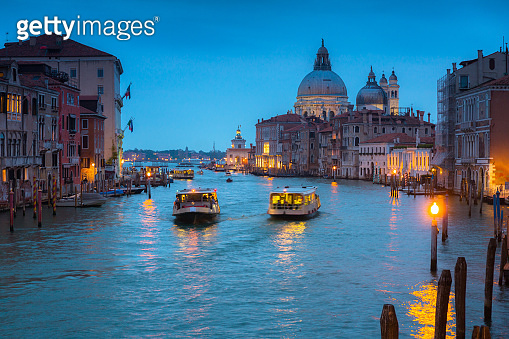 Grand canal of Venice city with beautiful architecture at dusk
