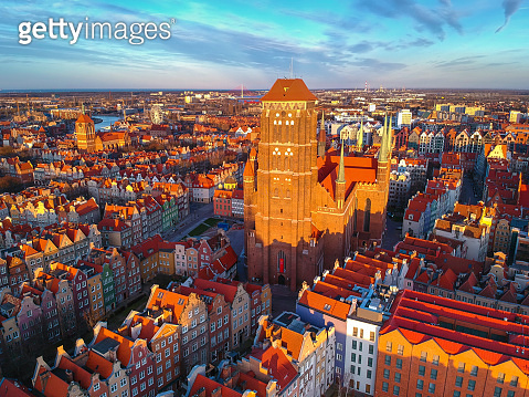 Aerial view of the St. Mary's Basilica in Gdansk