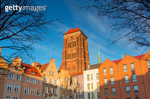 Architecture of St. Mary's Basilica in Gdansk at sunset