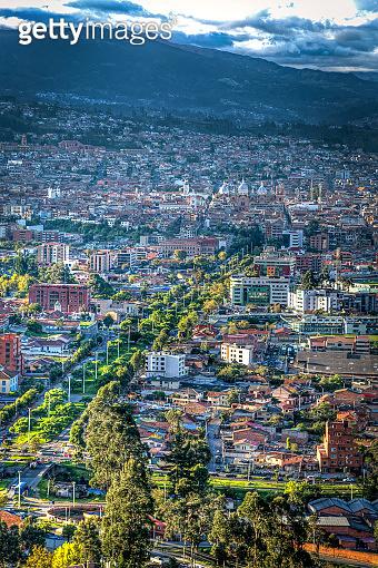 View of Cuenca, Ecuador, close to sunset.