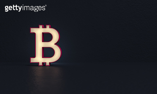 Frosted glass - Bitcoin simbol - dark background - 3d rendering