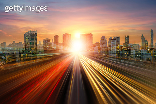 skyline road to city, Abstract background For business