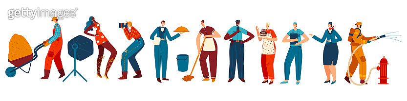 People of different professions, isolated cartoon characters, vector illustration