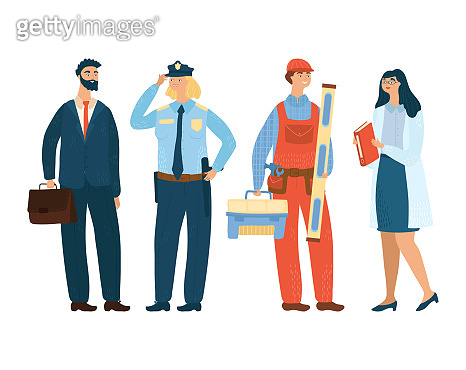 Businessman, police officer, engineer and scientist concept different profession vector illustration, isolated on white background.