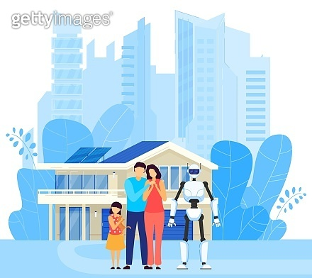 Smart home, modern character family, male, female, child, robot, machine, automated home assistant, flat vector illustration.