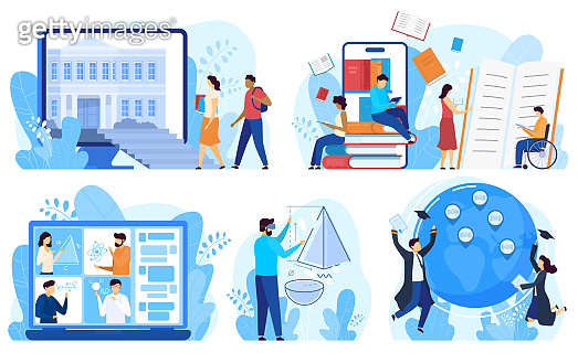 Distance education and online learning concept, vector illustration
