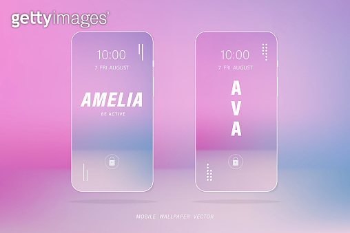 Gradient soft pink and light blue mobile phone wallpaper vectors with people names