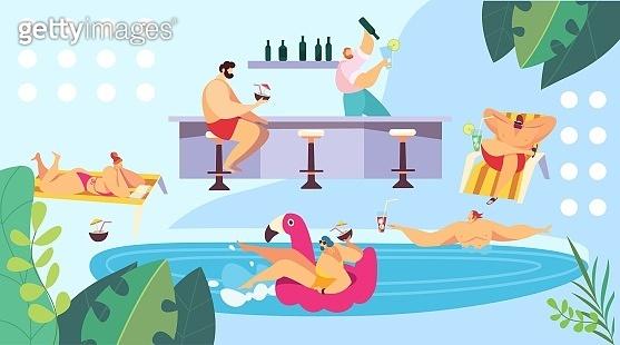 People relaxing at pool near bar, summer vacation resort, vector illustration