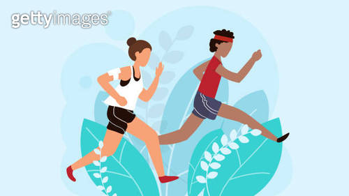 Running people, athletic man and woman cartoon characters, vector illustration