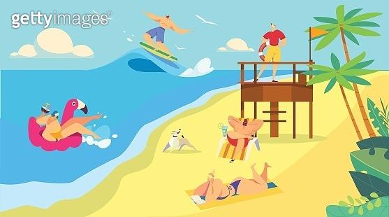 Summer vacation on beach, people swimming in sea, vector illustration