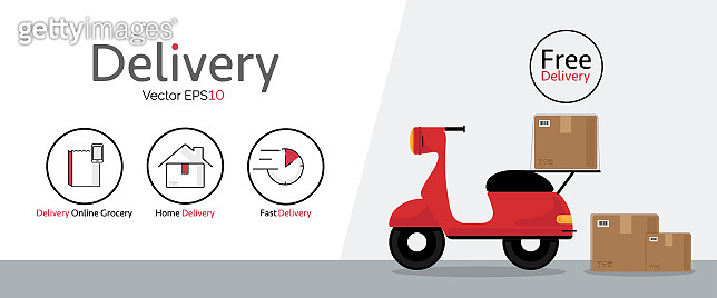 Delivery vector icons with motorcycle