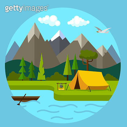 Cartoon Color Landscape Scene with Mountains and River Concept. Vector