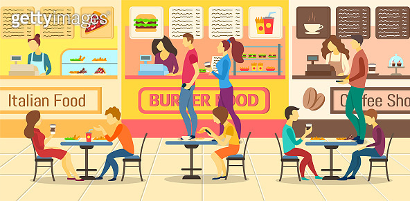 Cartoon Color Characters People and Food Court Restaurants Concept. Vector
