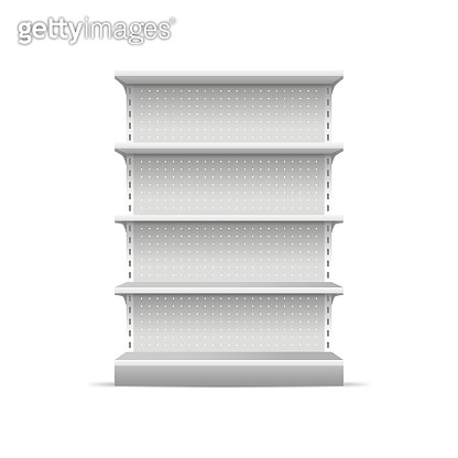Realistic 3d Detailed Supermarket Shelves. Vector