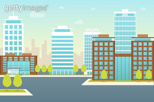 Cartoon City Landscape Background Card Poster. Vector