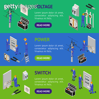 Character Electrician in Uniform Concept Banner Horizontal Set 3d Isometric View. Vector