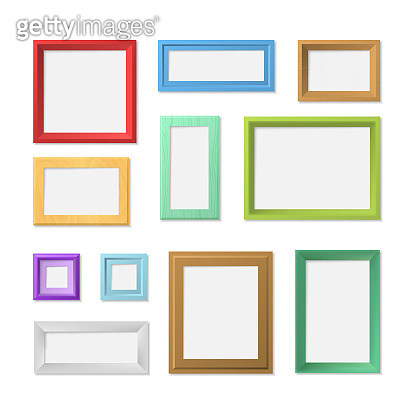 Realistic Detailed 3d Blank Color Photo Frame Template Mockup Set. Vector