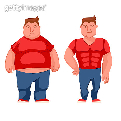 Cartoon Color Character Person Male Young Sad Fat Obesity Concept. Vector