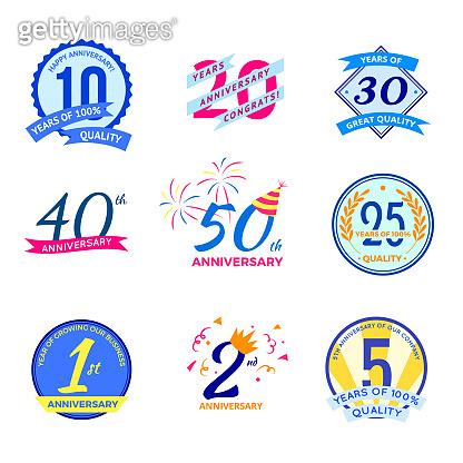 Cartoon Color Anniversary Labels Icons Set. Vector