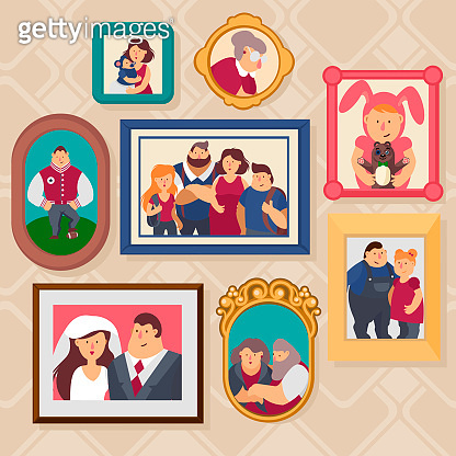 Cartoon Color Family Frames Icons Set. Vector