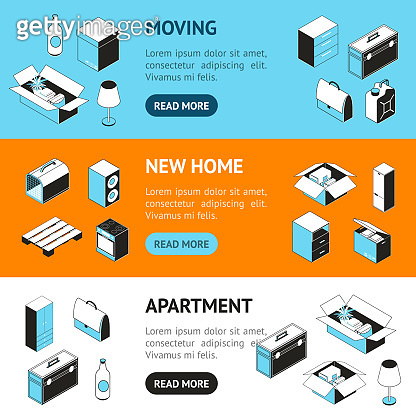Moving to a New House Concept Banner Horizontal Set. Vector