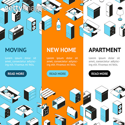 Moving to a New House Concept Banner Vecrtical Set . Vector
